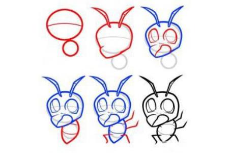昆虫简笔画教程 蚂蚁简笔画步骤图