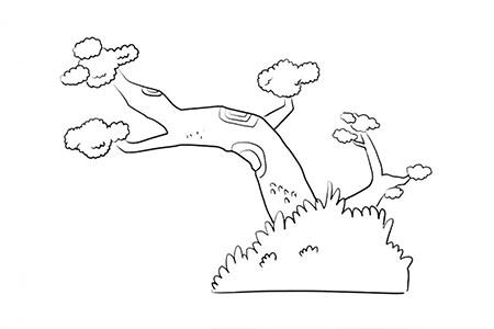奇形怪状的松树简笔画