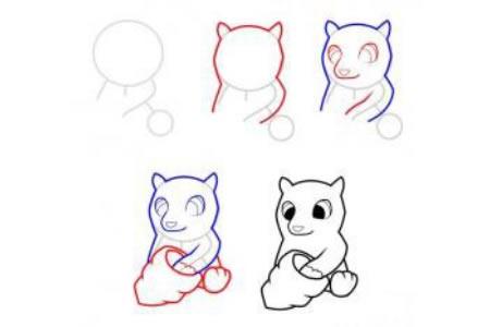 小熊吃蜂蜜简笔画步骤图