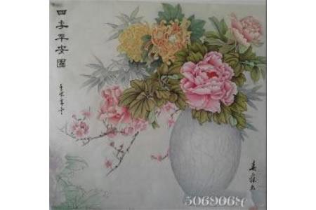 四季平安图工笔花鸟画