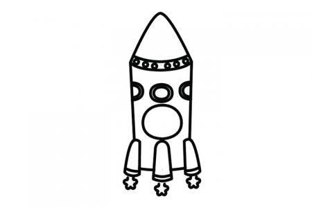 卡通小火箭简笔画