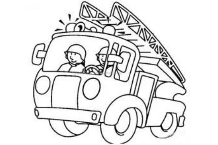 奔赴现场的消防车简笔画