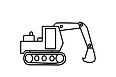 工程车简笔画大全 挖掘机简笔画图片