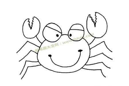 开心的螃蟹简笔画图片
