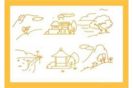 儿童风景简笔画山间风景简笔画