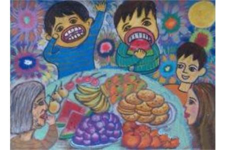 一起赏月吃月饼三年级中秋节绘画