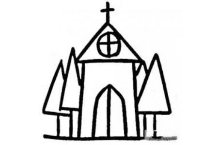 儿童建筑简笔画教堂的画法