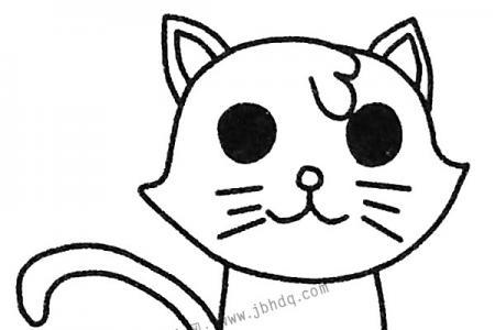 呆萌的小猫简笔画图片