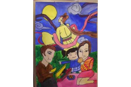 中秋赏月吃月饼,中秋节儿童绘画作品
