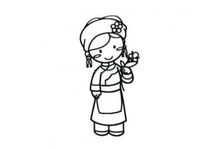 羌族小女孩简笔画