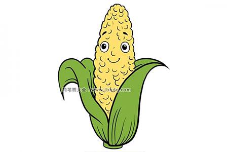 如何画卡通玉米