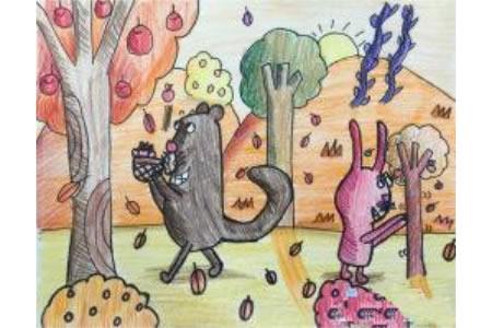 秋天水果丰收画作品之一起摘苹果