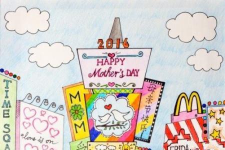 母亲节儿童画范画作品之和妈妈一起逛街
