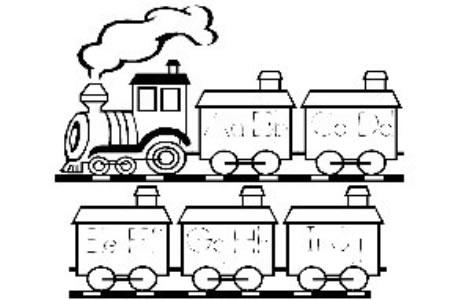 火车26英文字母简笔画