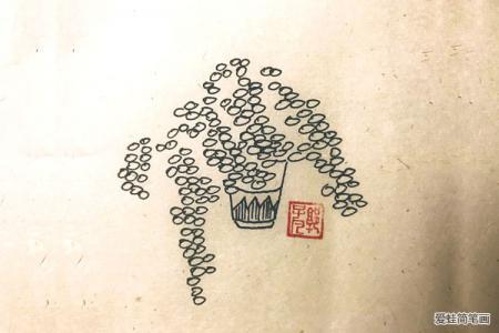 很有意境的一组盆栽简笔画