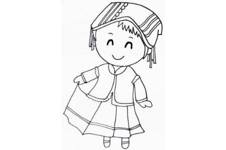 彝族少女简笔画
