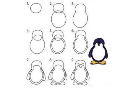 卡通小企鹅简笔画