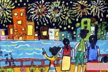 国庆全家团聚,欢度国庆节儿童画分享