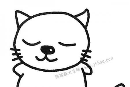 悠闲的猫咪简笔画图片
