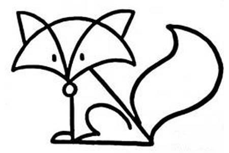 儿童动物简笔画狐狸