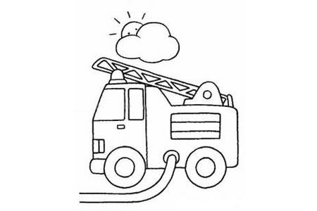 在抽水的消防车简笔画