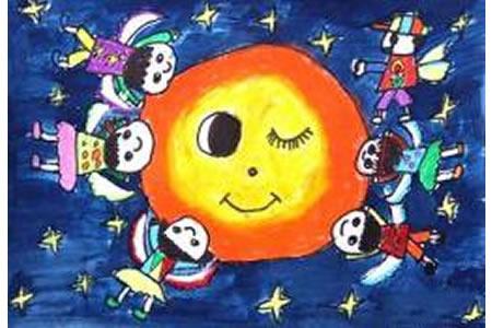 中秋节去亲月亮,中秋节主题儿童画作品