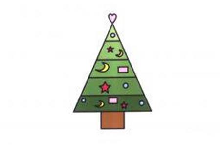 幼儿圣诞树简笔画画法
