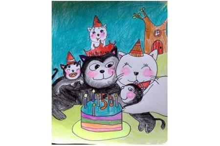 祝爸爸生日快乐关于小猫的绘画作品分享