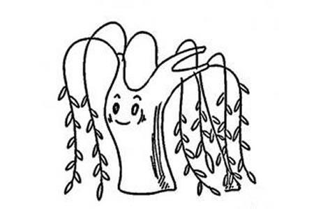 关于柳树的简笔画图片大全