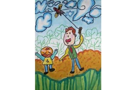 父亲节儿童画 和爸爸放风筝