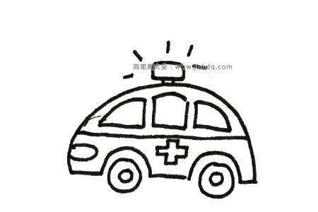 卡通救护车简笔画图片