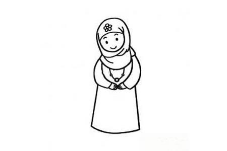 回族女孩简笔画