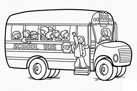 开学第一天:校车简笔画