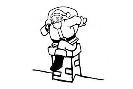 圣诞老人简笔画 跳烟囱的圣诞老人简笔画