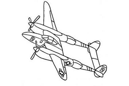 军用飞机简笔画大全 洛克希德P-38闪电