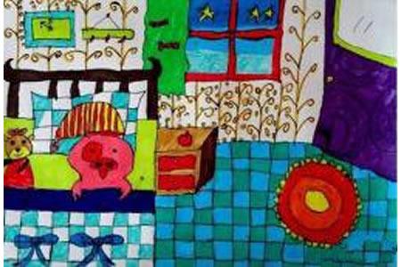 儿童画麦兜的家