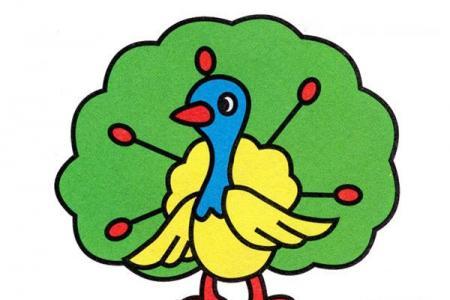 彩色美丽的开屏孔雀简笔画教程素描