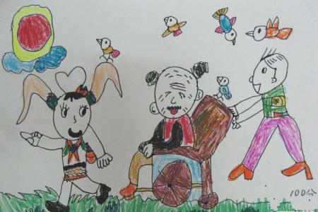 我们陪着爷爷去散步,九九重阳节儿童绘画作品