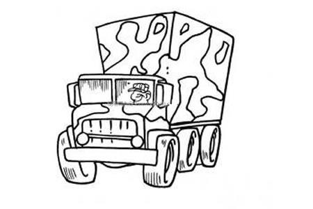迷彩军用卡车简笔画图片