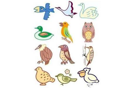 幼儿园彩色小鸟简笔画