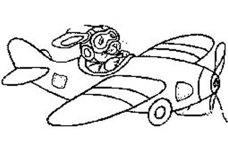 小兔开飞机简笔画图片