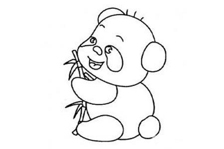 呆萌大熊猫简笔画图片