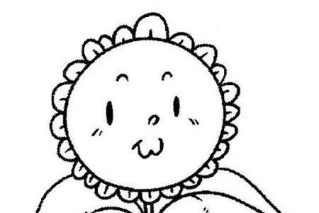 手绘卡通向日葵素描