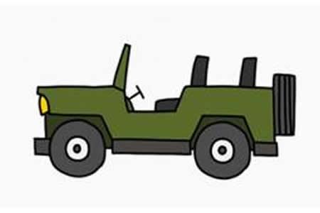 吉普车简笔画画法
