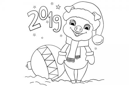 2019新年小猪简笔画
