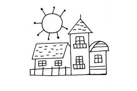 太阳与房子简笔画图片