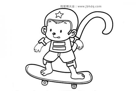 猴子玩滑板