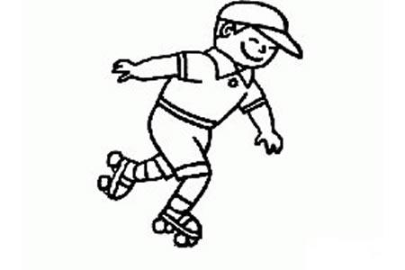 在滑旱冰的小男孩简笔画