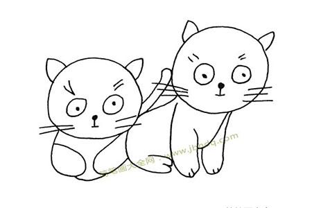 两只可爱的小猫简笔画图片