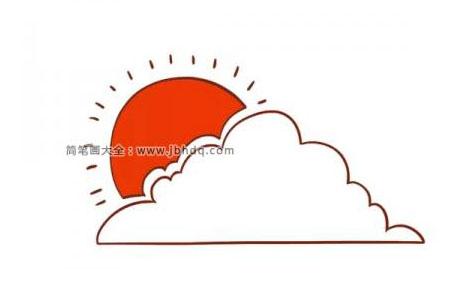 躲在云朵后面红红的太阳